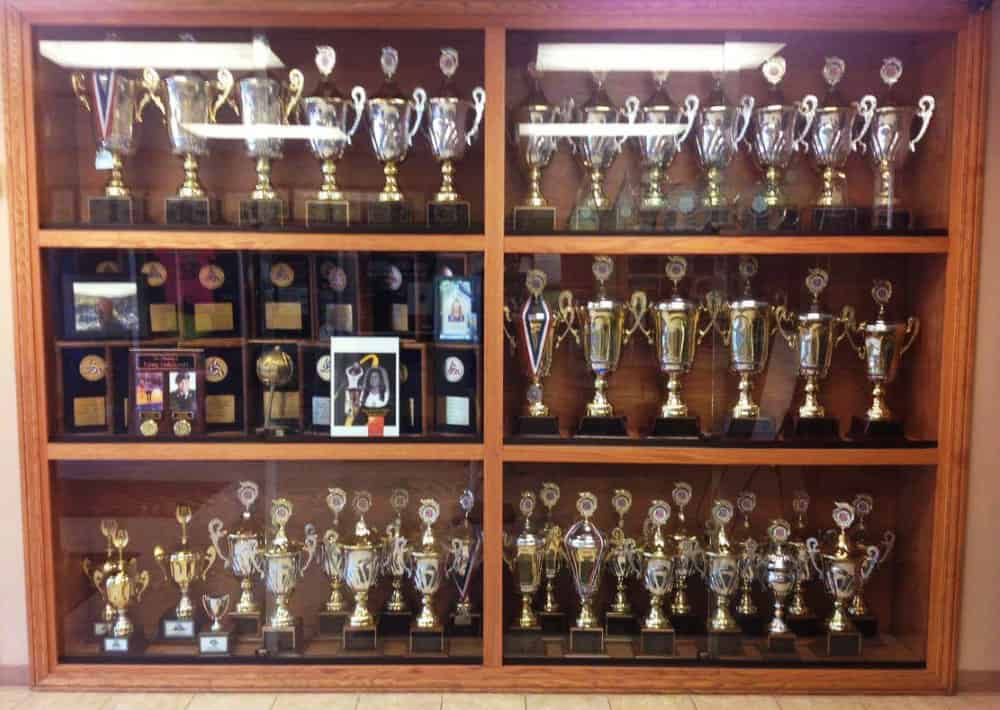 Trophy case displaying all of Sports Performance Volleyball's accomplishments