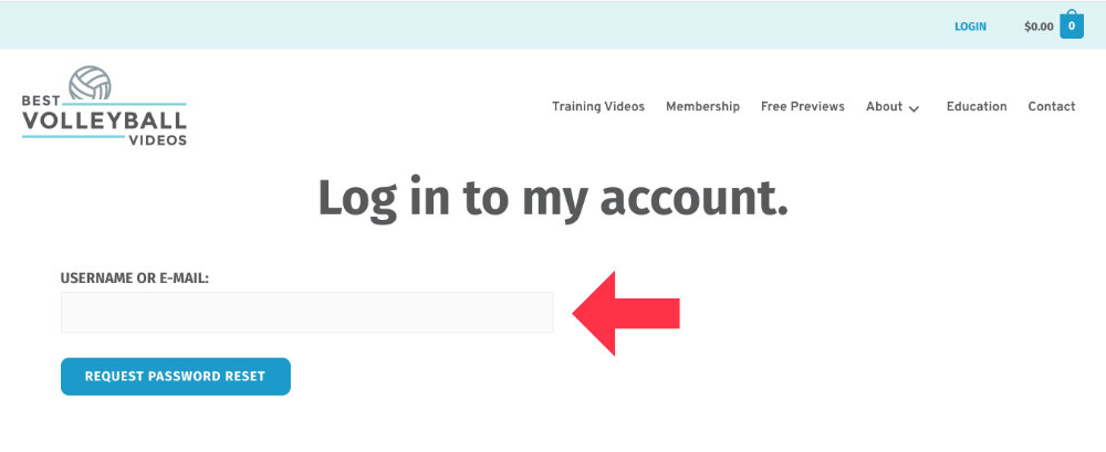 Enter your username or email address and click the blue button
